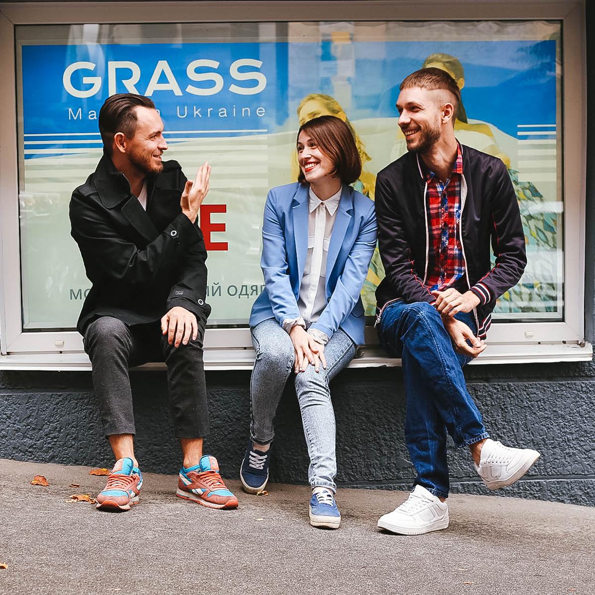 Тарас Волков, Ксения Константинова и Александр Колибабчук, основатели фешн-бренда GRASS