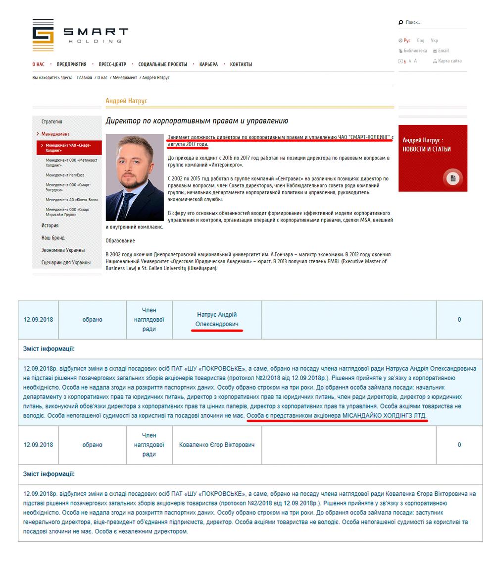 Андрей Натрус, Смарт-Холдинг, Misandyco Holdings