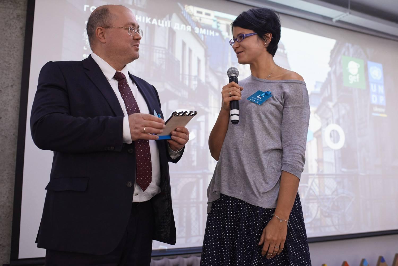 Сергей Волков, старший программный менеджер Программы развития ООН в Украине и Ирина Рубис, Ekonomika Communication Hu
